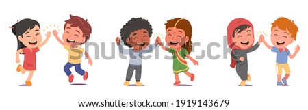Happy multiethnic friends kids boys, girls give high five greeting. Friendly diverse nationalities children persons in national costumes meeting. International friendship flat vector illustration set Stock photo ©
