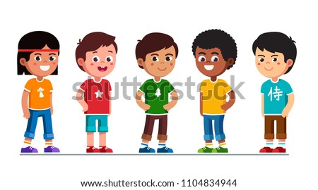 Happy multiethnic preschool boys standing in line. Smiling diverse kids cartoon characters set. Multiracial children. Caucasian, African American, Asian, Indian, Chinese kids. Flat vector illustration