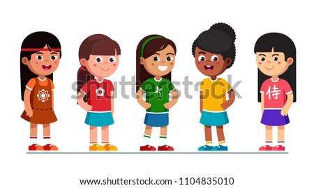 Happy multiethnic preschool girls standing in line. Smiling diverse kids cartoon characters set. Multiracial children. Caucasian, African American, Asian, Indian, Chinese kids. Flat vector illustratio