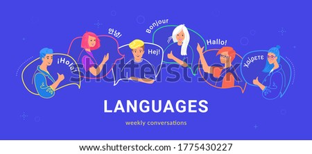 Happy multilingual teenagers talking and greeting each other in different languages. Flat vector illustration of young people on speech bubbles talking together as native speakers isolated on blue Foto stock ©