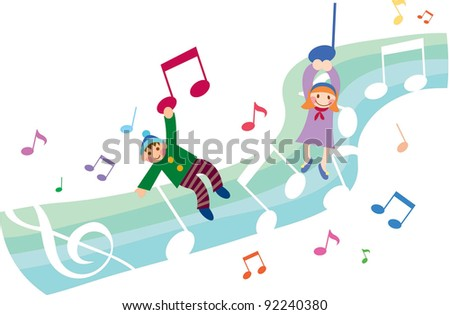 Happy Music Class with Cute Friends - stock vector