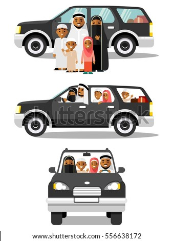 Happy muslim arabic family and car in different views. Arab people father, mother, children in traditional islamic clothes sitting in black automobile and standing together. Isolated white background
