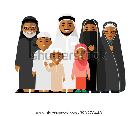 Happy muslim arabic family isolated on white background in flat style. Arab people father, mother, son, daughter, grandmother and grandfather standing together in traditional islamic clothes