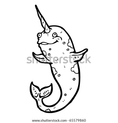 stock vector : happy narwhal cartoon