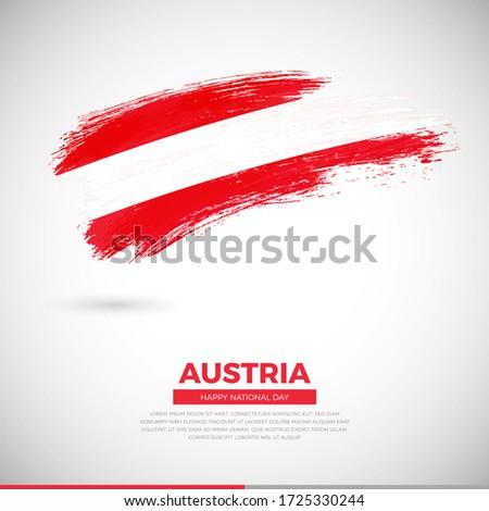 Happy national day of Austria country. Elegant grunge brush of Austria flag illustration