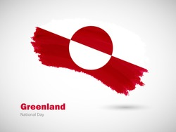 Happy national day of Greenland with artistic watercolor country flag background. Grunge brush flag illustration