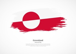 Happy national day of Greenland with national flag on grunge texture