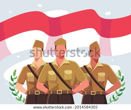 Happy national heroes day. Indonesia soldiers in vintage uniform with background of red and white flag of Indonesia. The Indonesian national heroes day celebration. Vector illustration in a flat style