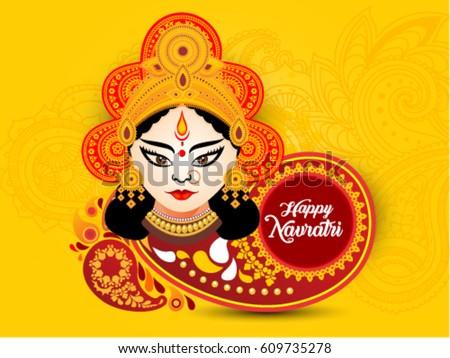 happy navratri artistic text background with goddess durga, poster or banner of indian festival navratri celebration. Stock photo ©