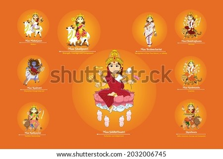Happy Navratri 9 forms of Hindu Goddess  Durga Ma Vector Art Stok fotoğraf ©