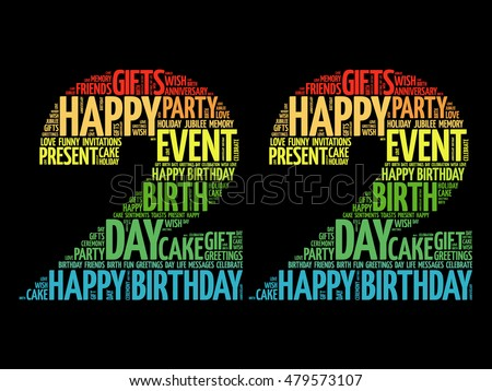 happy 23rd birthday word cloud collage concept ez canvas