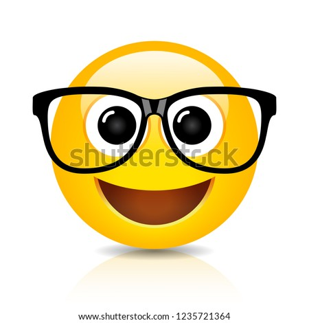 Happy nerd emoji on white background