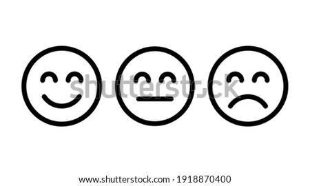 Happy, neutral and sad emoji icon. Icon set vector illustration in outline style Foto d'archivio ©