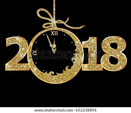 happy new year 2018 glitter text illustration download free vector