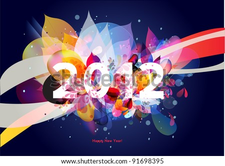 happy new year 2012 abstract floral background