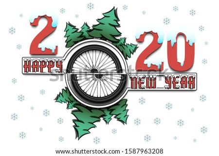 happy new year 2020 and bicycle