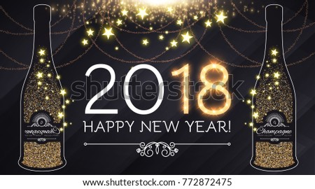 happy new 2018 year and christmas design template with bottle of champagne gold effects