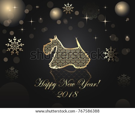 Happy New Year and Christmas greeting card. Vector illustration with the dog - a mascot of new year. Background for wallpapers, greetings card, flyers.