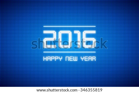 happy new year 2016 and led light pattern on dark blue background (vector)