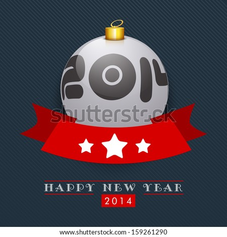 Happy New Year 2014 and Merry Christmas celebration party, poster or banner with glossy Christmas ball and red ribbon on blue background.