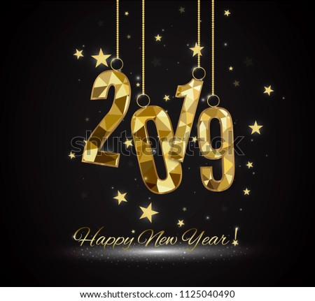 Happy New Year and Merry Christmas 2019. Decorative element from a golden ball design.vector illustration. Happy New Year and Merry Christmas 2019 #1125040490