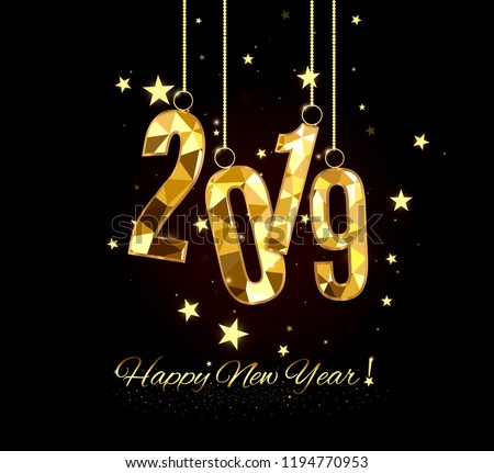 Happy New Year and Merry Christmas 2019. Decorative element from a golden ball design.vector illustration. Happy New Year and Merry Christmas 2019