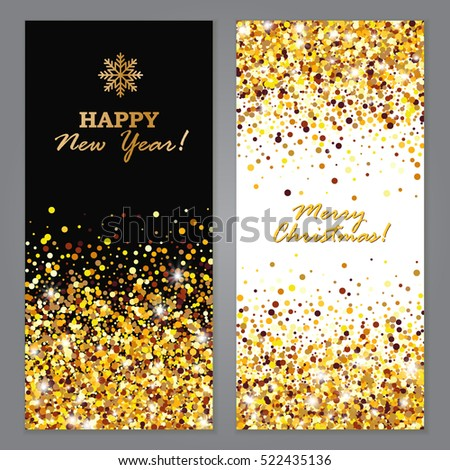 Happy New Year and Merry Christmas Glowing Vertical Banners set. Vector illustration. #522435136