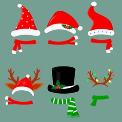 Happy New Year and Merry Christmas. Set of six different hats and scarves with various accessories for the Christmas holiday. Flat style, vector.