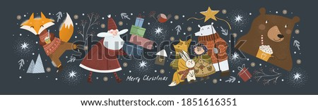 Happy New Year and Merry Christmas! Vector cute illustration of cheerful Santa Claus with gifts in winter, fox on skates. bear with a drink, animals welcoming the holiday. Drawings for greeting card