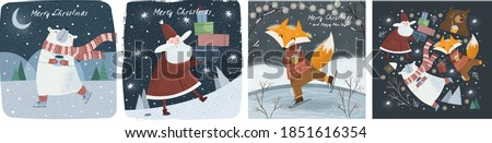 Happy New Year and Merry Christmas! Vector cute illustrations of a cheerful Santa Claus with gifts in winter, a polar bear with cocoa in the forest, and an animal fox on skates. Greeting cards