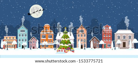 happy new year and merry Christmas winter old town street. christmas town city panorama. Santa Claus with deers in sky above the city. Vector illustration in flat style