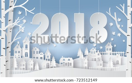 Happy new year and winter season , Snow Urban Countryside Landscape City Village with text 2018,paper art and digital craft style.