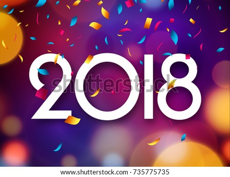 happy new year 2018 greeting card template download free vector