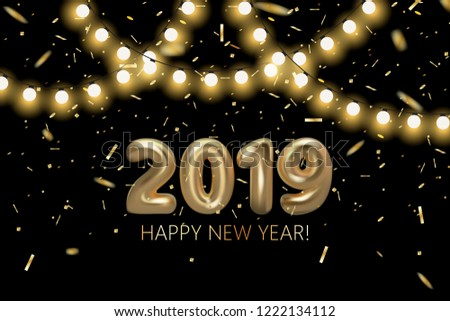 happy new 2019 year background golden metallic numbers shining confetti particles and light bulb