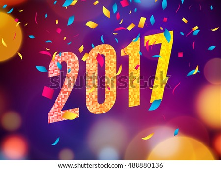happy new year 2017 background greeting card design template vector illustration of 2017 year