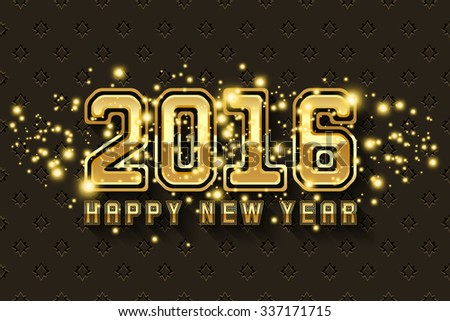 Happy New Year 2016 background in gold metallic design #337171715