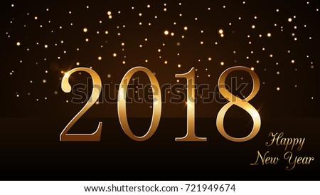 happy new year background magic gold rain on horizon golden numbers 2018 christmas