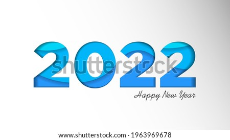 Happy New Year 2022 Background Template. Holiday Vector Illustration of Paper Cut Numbers 2022. 2022 Paper Cut Background Festive Poster or Banner Design. Modern Happy New Year Background
