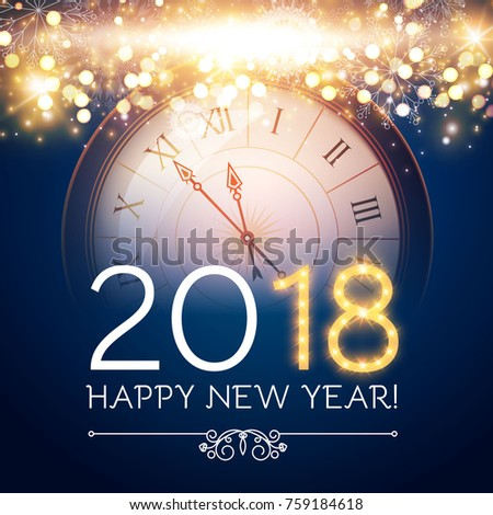 Happy New 2018 Year Background with Clock and Fireworks. Vector illustration