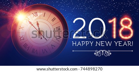 Happy New 2018 Year Background with Clock and Flash on Blue Background. Vector illustration