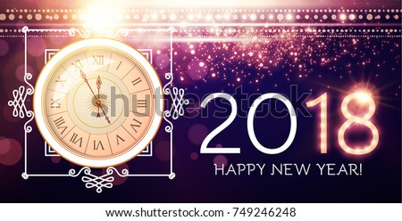 Happy New 2018 Year Background with Clock, Elegant Vintage Frame, Flash Light and Bokeh Effect. Vector illustration