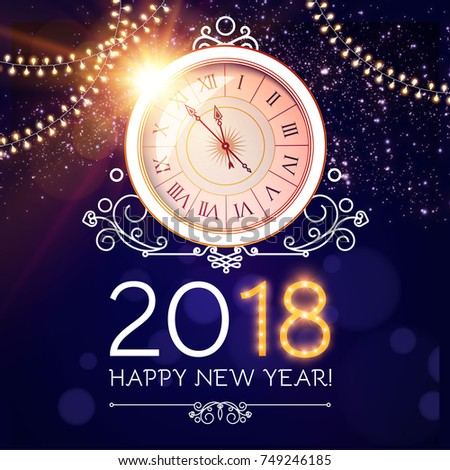 vector stock gold 2018 christmas or new year celebration premium luxury dark background with clock midnight and gold glittering shine glitter firework