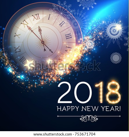 Happy New 2018 Year Background with Clock, Snowflakes, Stars and Bokeh Effect. Vector illustration