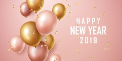 Happy new year 2019 background with floating party balloons. Vector illustration