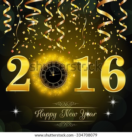 Happy New Year 2016 background with gold clock. vector #334708079