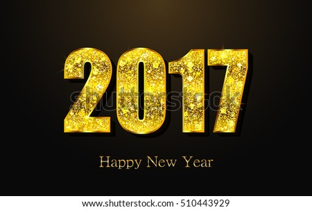 Happy New Year 2017. Background with gold sparkling texture. Vector Illustration. #510443929
