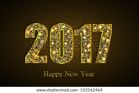 Happy New Year 2017. Background with gold sparkling texture. Vector Illustration #533162464