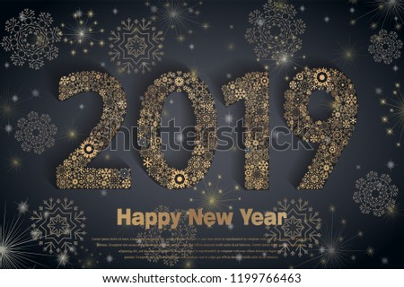 Happy New Year 2019. Background with golden sparkling texture snowflake. Patina Gold Numbers 0, 1, 2, 9. Bright foil surface. Vector Illustration for holiday greeting card, invitation, calendar poster