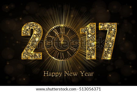 Happy New Year 2017. Background with golden sparkling texture. Vector iIlustration with gold clock. #513056371