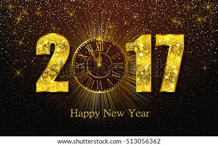 Happy New Year 2017. Background with golden sparkling texture. Vector illustration with gold clock. #513056362